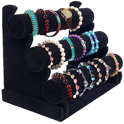 Bracelet Holder with Three Tier Racks ~ Velvet Bracelet Bangle Stand ~ Jewelry Organizer ~ Bangle Display ~ Jewelry Organizer for Wrist Watch, Bangles, Scrunchies and Bracelet (Black - 3 Tier Stand)