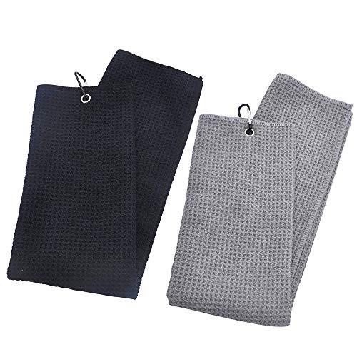 Mirrwin Golfhandtuch Tri-Fold Golf Handtuch Sporthandtuch Golfhandtücher Microfaser Handtücher Passend für Fitness Sport Outdoor Yoga Golf Laufen Fahrrad Schwarz/Grau 2-Teiliges Set