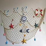 Ruick, Rete da pesca, decorazione da appendere alla parete o alla porta, come sfondo per feste, in stile nautico, colore beige con conchiglie