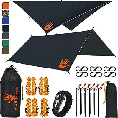 Rain Fly EVOLUTION 12x10/10x10 Hammock Waterproof Tent TARP & Survival Bracelet - 22 pcs - Lightweight - Backpacking Approved - Perfect Hammock Shelter - Multiple Colors