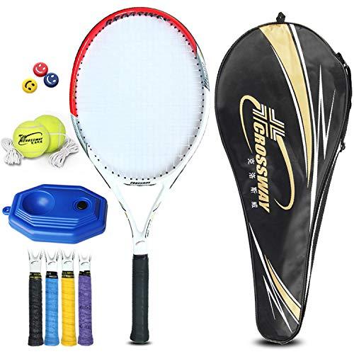 AONETIGER Tennisschläger Herren Damen Anfänger Set mit 1 Tasche 1 Tennis Trainer 2 Tennisbälle 1 Zufällige Farbe Griffband 1 Emoji Dämpfer(Rot)