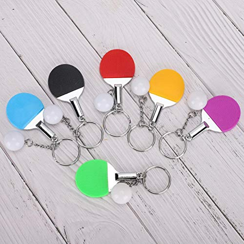 Elegante y encantador Mini llavero de raqueta Llavero de tenis de mesa de goma de metal Deportes Colgante clásico Amantes del deporte Monedero de regalo para colgantes de bolsos