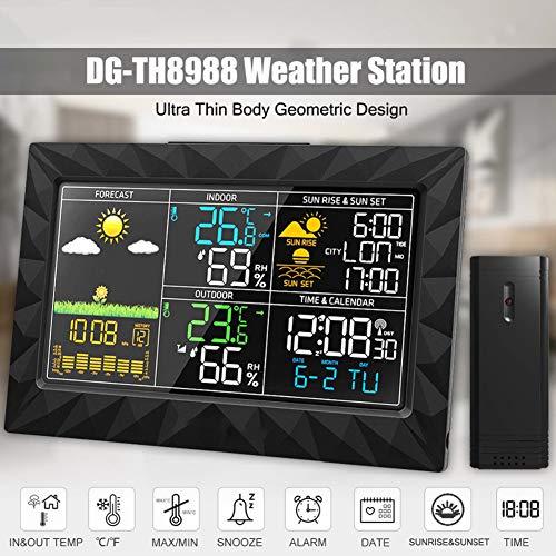 CRZJ Wetterstationen Wireless, Innen Außen-Thermometer Digital Hygrometer mit Wireless Sensor, Temperatur und Feuchte-Monitor, Wettervorhersage Icon