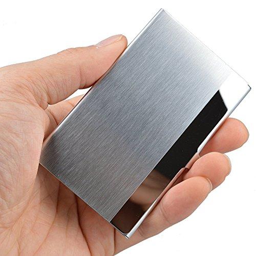 Vipith - porta biglietti da visita professionale, in acciaio INOX superleggero, mantiene i vostri biglietti da visita in perfette condizioni, design sottile, adatto a uomini e donne, per viaggio e lavoro, colore argento