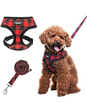 SCENEREAL Liten hund sele och blyuppsättning – mjukt nät pläd valp sele – ingen dragvadderad väst för hundar som går