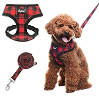 """SIZE: Chest Girth 31.7 - 41.6 cm, Neck Girth 25 cm, Leash length: 150 cm(59""""). Please measure your pet before purchased. SOFT MATERIAL: This Dog Harness is made of 104% Polyester, looks like a red and black plaid jacket, with breathable mesh inside n..."""