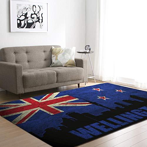 WZZSKE Teppich Kurzflor weicher Designer Anti-Rutsch Unterseite fürs Wohnzimmer Schlafzimmer & die Kinderzimmer geeignet Blaue rote britische Flagge Schwarze Stadt Teppich Größen: 200 x 300 cm