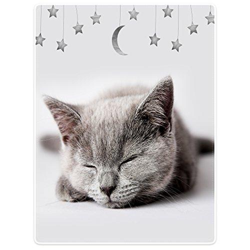 YISUMEI Decke 150x200 cm Kuscheldecken Sanft Flanell Weich Fleecedecke Bettüberwurf Kätzchen Katze Schlaf Star Mond