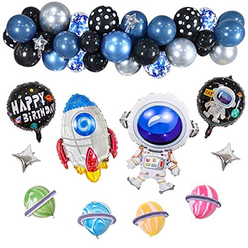 Set de decoración para cumpleaños infantiles XXL – 53 piezas – cumpleaños en el espacio – Globos XXL – Globos de papel de aluminio, globos, guirnaldas y decoración para tarta – Azul, Negro, Blanco