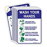 Faittoo 6 Pack Wash Your Hands Sticker Sign,10x7 Inches, Handwashing Instruction Signs, 6 Mil Sleek Vinyl Decal Stickers, Weather Resistant Long Lasting UV Protected and Waterproof