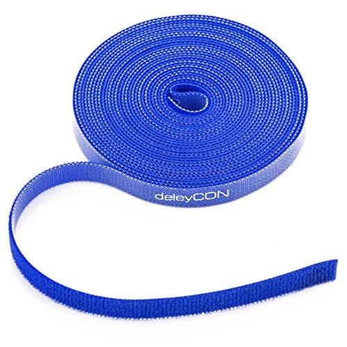 deleyCON 5m Klett Kabelbinder Klettband Klettbandrolle 10mm Breit Kabelmanagement Kabelorganizer Klettkabelbinder Klettverschluss zuschneidbar Blau