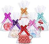 CODIRATO 50 Pezzi Sacchetti Trasparenti Plastica Sacchetti Regalo Bustine per Alimenti con 60 Pezzi Nastri per Biscotti, Caramelle, Cupcakes, Cioccolatini, Regalo