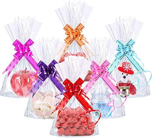 CODIRATO 50 PCS Bolsas de Plástico de Celofán Transparente, Bolsas de Celofán con 60 Flores de Arrastre Bolsas de Plástico para Galletas para Dulces, Regalos, Comestibles (25*15cm)