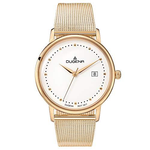 DUGENA Mila - Reloj de pulsera para mujer, cuarzo, caja de acero inoxidable, cristal mineral, correa de acero inoxidable, cierre deslizante, 3 bares (oro rosa)