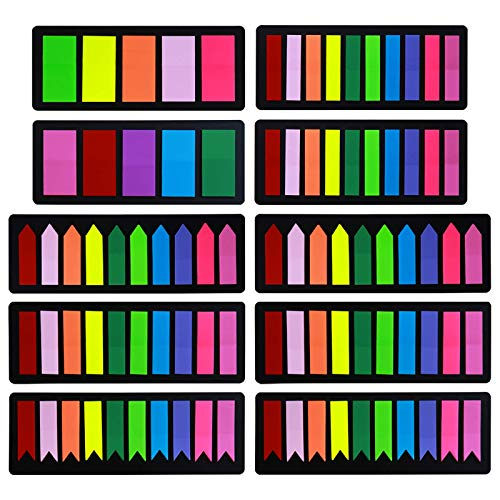 Colored Page Markers Sticky Index Tabs 1800 Pcs, Arrow Flag Note Tabs Self Adhesive Document Stickers for Books, Notebook [3 Designs, 3 Sizes, 10 Bright Colors] Easy to Stick, Removes Cleanly