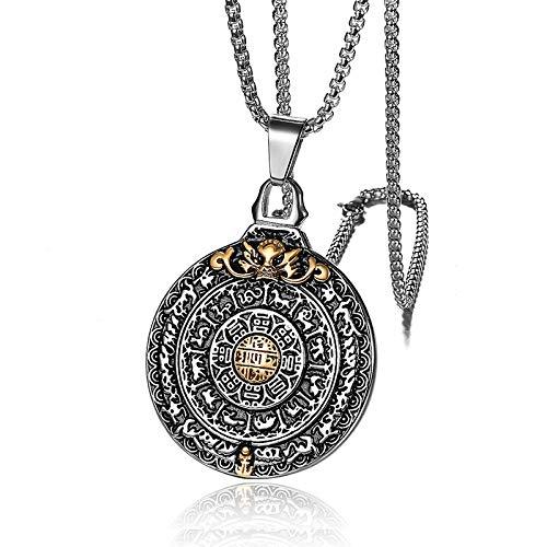 Collar De Amuleto Retro para Hombres Budismo De Acero Inoxidable De Ti