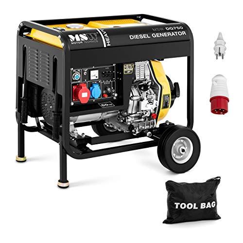 MSW Generador Eléctrico Diésel Portátil MSW-DG750 (4.400 W/5,2 kVA, Capacidad de depósito: 12,5 L, 230/400 V, Motor de cuatro tiempos)