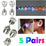 AYAMAYA 5 Pairs Changing Color Light Up LED Earrings Studs Flashing Blinking Earrings Dance Party Accessories Decoration Gifts for Men Women Wife Girlfriend Friend Boyfriend Mothers Day Gifts