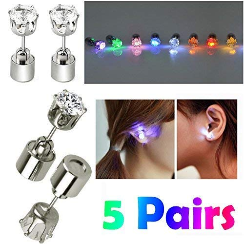 AYAMAYA 5 Pairs Changing Color Light Up LED Earrings Studs Flashing Blinking Earrings Dance Party Accessories Decoration Christmas Gifts for Men Women Mom Wife Girlfriend Friend Boyfriend
