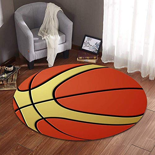Stile Europeo E Americano NBA Pallone da basket rotondo Squadra Soggiorno Divano Tavolino Camera da Letto Comodino Tappeto Rettangolare personalità Creativa Tappeto Antiscivolo,Basketball,80cmdiameter