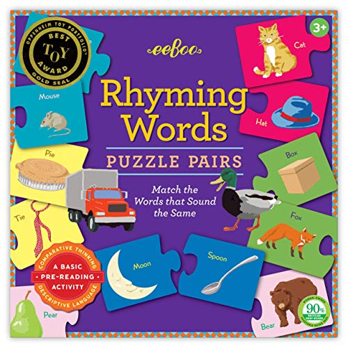 eeBoo Preschool Rhyming Puzzle Pairs for Toddlers 3 Years and Up