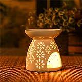 Guanglongli Brucia Essenze Ceramic Hollowing Floral Aroma Lamp Bruciatore Candele Set Aromaterapia, Oli Essenziali con Portacandele, Suitable Decorazione Casalinga Regalo 60ml Bianco