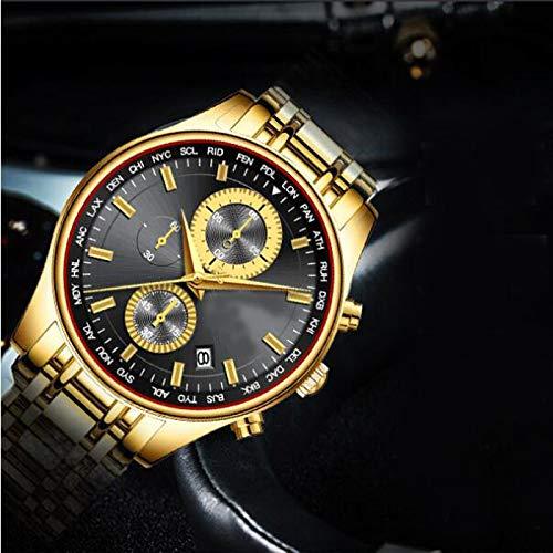 TKFY Mens Luxury Waterproof Quartz Uhren Edelstahlband Business Sport Armbanduhr Sub Dials Chronograph mit Multifunktions-Geschwindigkeitsmessung Uhren,Gold