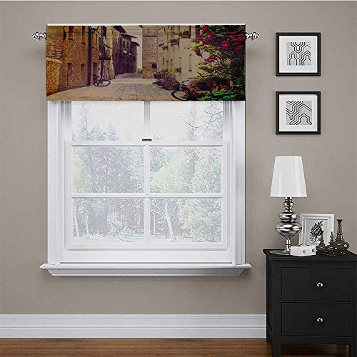 """carmaxs Window Valences Curtains Cityscape Pattern Window Curtain Valance Street in Pienza Tuscany Italy with Hanging Basket Plants Flowers Bicycles Picture 56"""" x 16"""" Red Green"""