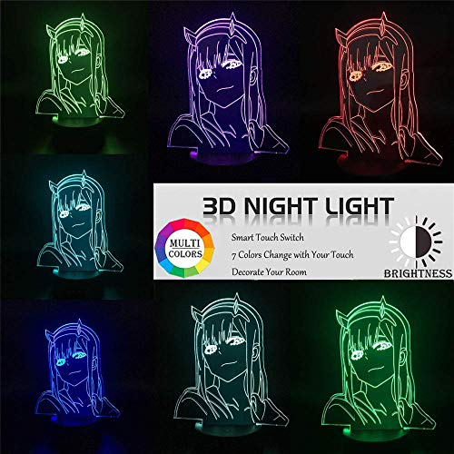 Anime Lamp Zero Two Figure Night Light for Kids Boys Girls Bedroom, 3D Illusion LED Lights & 02 Anime Stickers for Birthday Gift (Darling in The FRANXX-02)