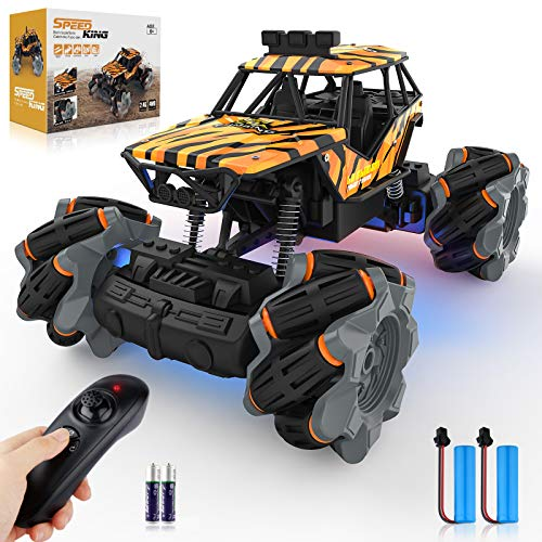 Growsly Remote Control Car - High Speed Rc Trucks,360° Rotation Drift Stunt Off Road All Terrains Rc Cars with 2 Rechargable Batteries,Monster Truck Crawlers Vehicle Toys for Boys Girls Kids Adults