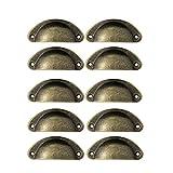 Kaiissa - 10 tiradores de cajón antiguos con tornillo para cajones de cocina, cajones, cómodas, semicirculares, 81 x 35 mm