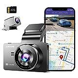 AZDOME Caméra Embarquée 4K + 1080P Dashcam Avant et Arriere avec WiFi, GPS, 170°Angle, WDR, Enregistrement en Boucle, G-capteur, Surveillance de Stationnement, 32G SD-Carte Caméra de Voiture(M63)