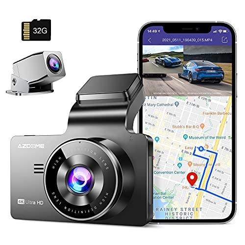 AZDOME Dashcam Vorne und Hinten 4K + 1080P mit WiFi, GPS, 170° Weitwinkelobjektiv, Nachtsicht, WDR, Loop-Aufnahme, G-Sensor Notfallaufnahme, Parküberwachung und Bewegungserkennung Autokamera(M63)