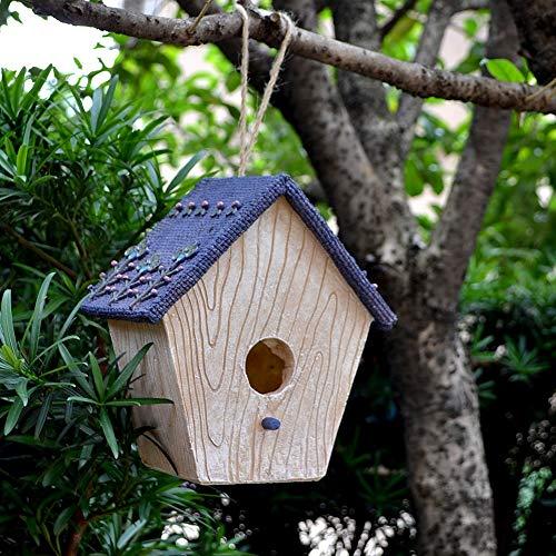 GFDE Pajarera Birdhouse de Madera al Aire Libre Retro Crafts de Campo for la casa del pájaro al Aire Libre decoración de la casa del pájaro Adorno de jardín (Color : C, Size : Free Size)