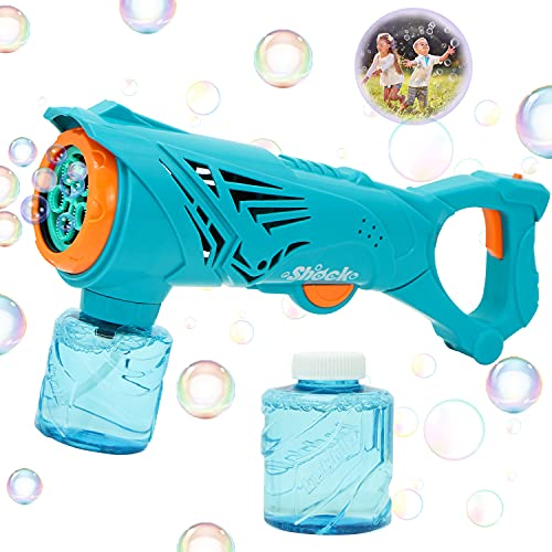 JOYIN Bubble Blower Gun for Kids, Electric Large Bubble Gun with 2 Bubble Solution(150 ml) Liquid, Automatic Bubble Blaster Maker for Outdoor & Indoor, Summer, Birthday, Party, Wedding