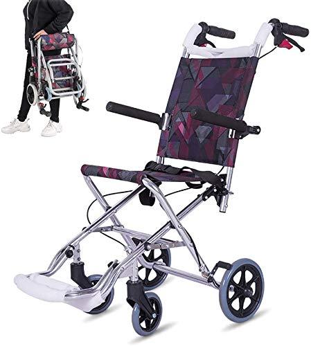 GLJY Leichter Faltbarer Kinderrollstuhl, Rahmen aus Aluminiumlegierung, Rollstuhl für Reiseflugzeuge, abnehmbare Fußstützen