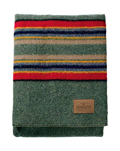 Pendleton Yakima Camp Thick Warm Wool Indoor Outdoor Striped Throw Blanket, Green Heather, Queen Size