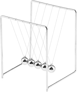 Flameer Newton's Cradle – 5 Balance Balls Physics Science Toy Home Office Desk Decor - Silver, Size(LxWxH): 9 x 9 x 11cm