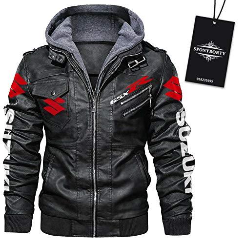 xiaosu Faux Pelle Bombardiere Giacca Su-Z.u.k.i Gsx-R Stampa con Removibile Cappuccio Giacca a Vento Uomo & Donna Moto Racing Cappotti Sciolto/Nero/XXL