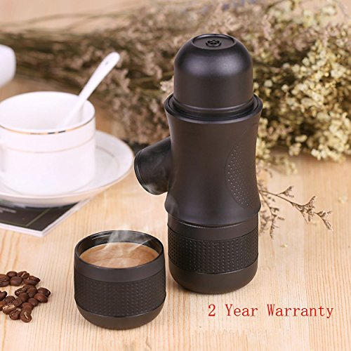 Mini Espresso Maker for Travel, FREESOO Portable Hand Held Manual Coffee Machine for Home Outdoor Office (Black)