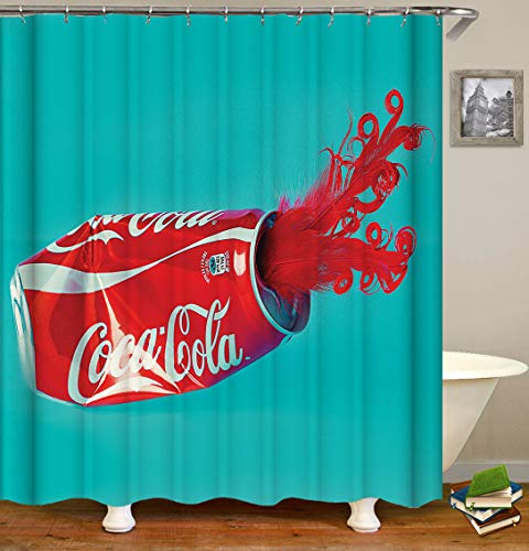 Fabric Shower Curtain, Coca-Cola Can with Red Feathers Coke Modern Simplicity Turquoise Polyester Designer Cloth, Print Designer Bathroom Curtains Include Hooks Set (1127)