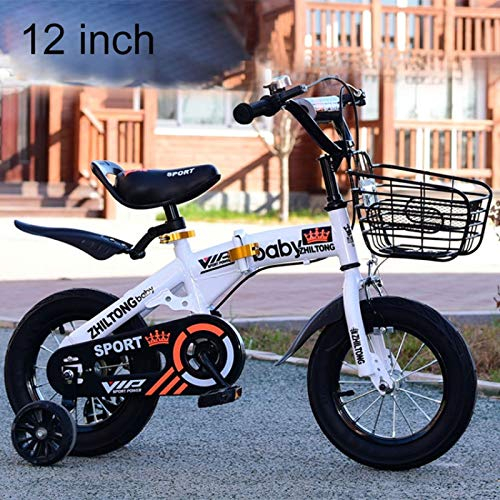 Baby Toys Ljr ZHILTONG 5166 12 inch Foldable Portable Children Pedal Mountain Bike with Front Basket & Bell, Recommended Height: 90-105cm (Color : White)