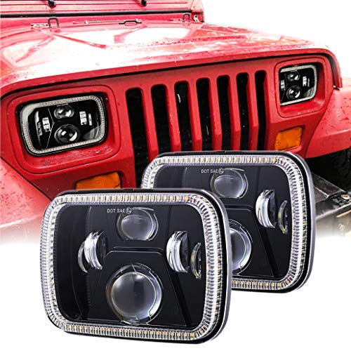 Z-OFFROAD 2pcs 110W 5x7 7x6 Halo LED Headlights with Turn Signal White DRL Sealed Beam Headlamp H6054 6054 Led Headlight Compatible with Jeep Wrangler YJ Cherokee XJ H5054 H6054LL 6052 6053 - Black