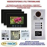VIDEOCITOFONO 2 FILI 1 2 3 4 MONITOR LCD TOUCH FAMILIARE BIFAMILIARE CONDOMINIALE TELECAMERA (Kit Trifamiliare Completo)