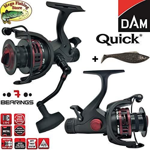 DAM Quick #1 5000 & 6000 FS 7BB - Freilaufrolle Angelrolle Stationärrolle - Freilauf Rolle + Glücksbringer (5000er - Schnurfassung: 0,30mm / 220m)