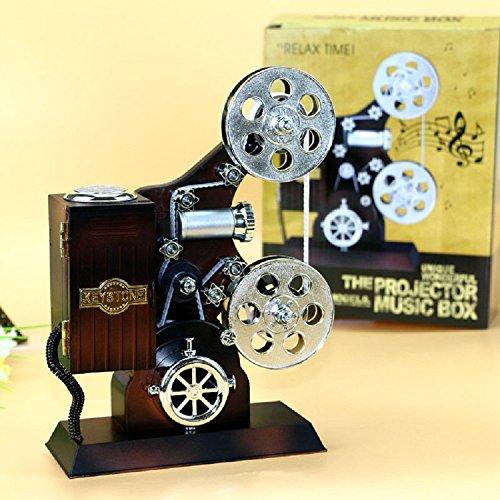 Preisvergleich Produktbild XJoel kreative Retro Weinlese-alte Harz-Film-Projektor-Verzierungs-Spieluhr für Hauptstab-Dekoration-Schreibtisch-Org...