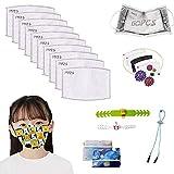 Inserto de filtro de carbón activado PM 2.5 de 60 piezas para niños, papel de filtro protector reemplazable para niños con 5 capas, filtro + pieza de almacenamiento + gancho ajustable + cordón)