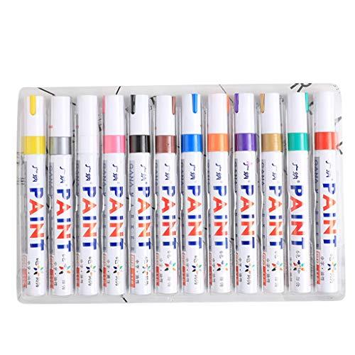 Guizhou 12 Stück bunte wasserfeste Stifte für Autoreifen, Metall, Permanentlack-Marker, Graffiti, ölige Markierstifte.