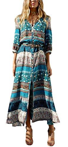 R.Vivimos Women's Summer Button Up Floral Print Split Beach Maxi Dresses (Small, Green)