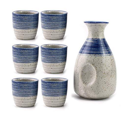 MLWTB – Juego de Sake de cerámica Japonesa, diseñado a Mano, Tradicional de cerámica Crafts, Vasos de Vino, Juego de 7 (5), 1 Jarra (10,5 onzas), 6 Tazas (1 oz), 7 Piezas